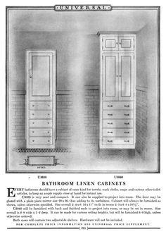Bathroom linen cabinet from Universal Millwork Catalog 1927 - hall bath. Vintage Bathrooms, Tiled Bathrooms, Bathroom Linen Cabinet, Floor Grout, Craftsman Cottage, Interior Trim, Grey Flooring, Kitchen And Bath, Master Suite