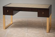 A7:307HW-412 Capris Writing Desk with gold leaf legs and top with glass