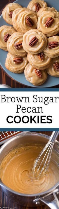 Brown Sugar Pecan Cookies - A chewy cookie brimming with toasted pecans and covered with a caramel or penuche-like frosting. Such a delicious holiday cookie! #christmascookies #dessert #recipe #christmas #pecancookies via @cookingclassy