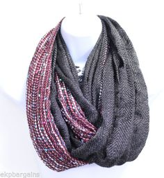 New-With-Flaws-Collection-Eighteen-Women-Infinity-Loop-Scarf-Black-M5002-G