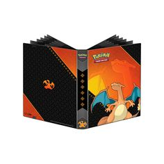 This 9-Pocket Full-View Pro Binder features Charizard on the cover. Inside are 20 sheets that will hold 18 cards per page, for a total of 360 cards. The pages are side-loading, with black inner pages. There is an elastic strap for secure closure. Archival quality sheets. Quality Ultra-Pro design. Protect your favorite Pokemon cards.