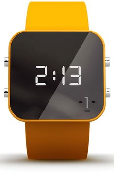 1:Face 'Education' Square Digital Silicone Strap Watch, 38mm | Nordstrom