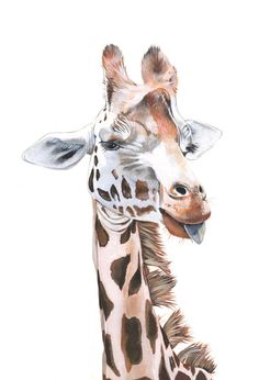 Giraffe painting print of acrylic painting A4 size por LouiseDeMasi