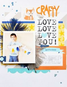 Bella Blvd Max Collection. Bella Blvd Feathers. Flip book on layout. Crazy Love layout by DT member Leanne Allinson