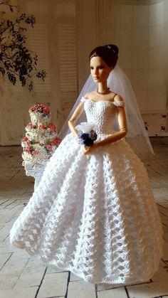 Barbie Bridal, Barbie Wedding Dress, Wedding Doll, Barbie Dress, Crochet Doll Dress, Crochet Barbie Clothes, Barbie Clothes Patterns, Clothing Patterns, Lingerie Crochet
