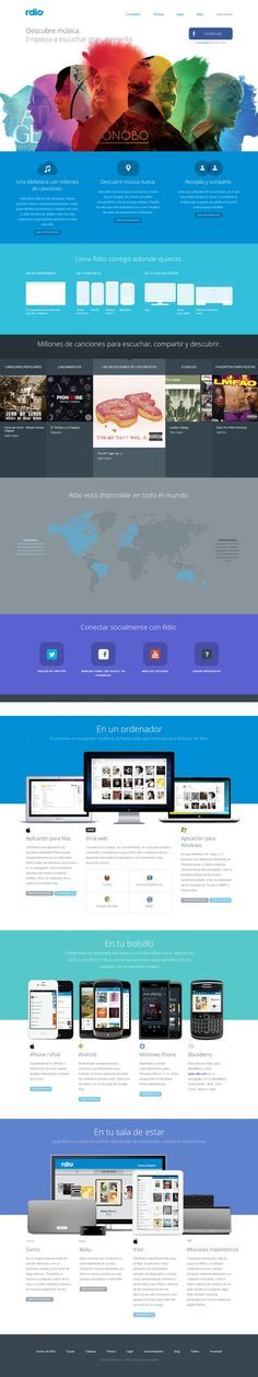 Rdio 5 May 2013 http://www.awwwards.com/web-design-awards/rdio #webdesign #inspiration #UI #Clean #Illustration #CSS3 #Colorful #Design