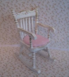 Shabby Chic Rocking Chair, With Pink And White Dotted Seat, A Dollhouse Mini