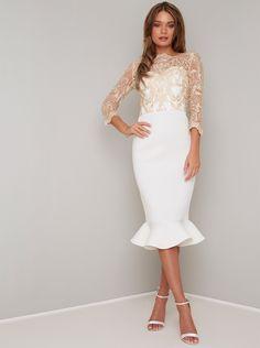 Chi Chi London Scuba Aga Fluted Hem Bodycon Midi Dress - White in Cream Peplum Midi Dress, White Midi Dress, Bodycon Dress, White Cocktail Dress, Midi Dresses, Party Dresses, Prom Dress, Slim Fit Skirts, Dress Outfits