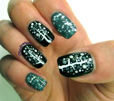 Winter Dotty Trees #flightofwhimsy #nails ##nailart - bellashoot.com