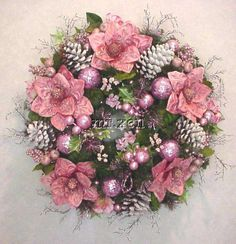 Victorian Shabby Chic | VICTORIAN CHRISTMAS POINSETTIA'S PINK ICE CHIC SHABBY ORNAMENTS ...