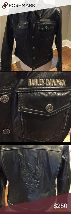 Harley Davidson Leather Jacket Harley Davidson black distressed leather jacket. Excellent condition! Beautiful leather coat! Tag says medium. I think it fits a size 4 to 6 very well. Harley-Davidson Jackets & Coats