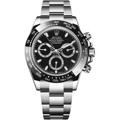 Rolex Cosmograph Daytona Stainless Steel 116500LN Black Watch ($19,000) ❤ liked on Polyvore featuring men's fashion, men's jewelry, men's watches, stainless steel, mens stainless steel watches and rolex mens watches