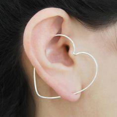 Otis Jaxon Silver Jewellery Heart Silver Valentine's Day Gift Hoop... ($16) ❤ liked on Polyvore featuring jewelry, earrings, earring ear cuff, silver heart jewelry, silver heart earrings, silver earrings and geometric earrings
