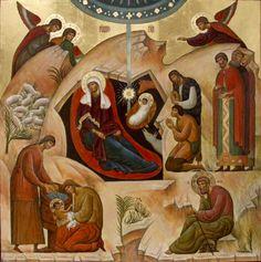 XC__ Γεννηση __dec 25 (The Nativity - contemporary Byzantine Icons, Byzantine Art, Religious Icons, Religious Art, Nativity Painting, Lucas 2, Church Icon, Madonna Art, Paint Icon