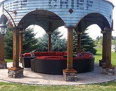 Grain Bin Gazebo Sofa Pictures Kits With Fire Pit Backyard Gazebo, Backyard Landscaping, Porch Gazebo, Landscaping Equipment, Backyard Retreat, Landscaping Ideas, Outdoor Rooms, Outdoor Living, Outdoor Decor