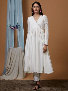 White Cotton Georgette Flared Angrakha Kurta with Modal Pants and Dupatta- Set of 3 White Maxi Dresses, Simple Dresses, Cotton Dresses, Stylish Dresses, Dress Indian Style, Indian Dresses, Kurta Designs Women, Blouse Designs, Indian Designer Outfits