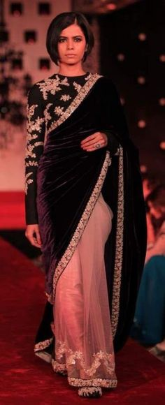 Peach net and violet velvet half and half saree with black high neck full sleeves blouse by Sabyasachi Mukherjee