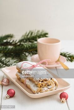 Stock Photo : Mini Stollen with marzipan and coffee cup