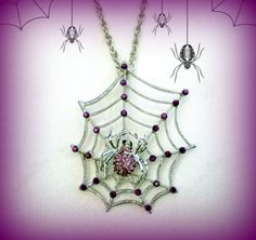 Spider Web Necklace..Purple Spider Pendant..Halloween Necklace..Silver Tone Spider Necklace..Gothic Necklace..Twilight Sparkle Necklace by UniqueTrinkets4u on Etsy #uniquetrinkets