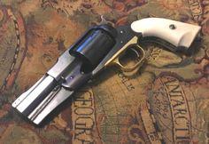 Custom Revolver, Revolver Pistol, Military Weapons, Weapons Guns, Single Action Revolvers, Weapon Concept Art, Mountain Man, Old West, Shotgun