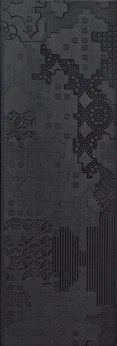 Indoor porcelain stoneware wall/floor tiles BAS-RELIEF PATCHWORK NERO by MUTINA | #design Patricia Urquiola #black