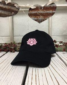 0260b75b069 LOTUS FLOWER Baseball Hat Low Profile Embroidered Baseball Caps Dad Hats  Black