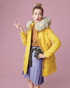 J.Crew women's chateau parka, Tippi sweater, Tippi sweater in leopard print and box-pleated skirt.
