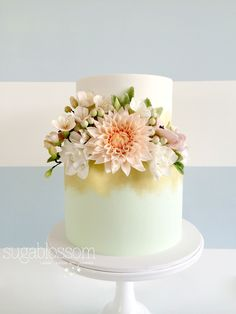 Mint and gold cake with sugar flowers by Sugablossom Cakes