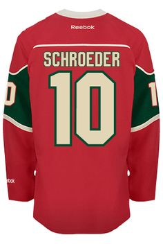 40ef3cebf Minnesota Wild Jordan SCHROEDER  10 Official Home Reebok Premier Replica NHL  Hockey Jersey (HAND