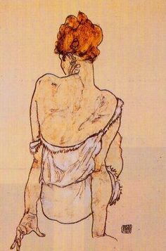 seated woman in underwear, egon schiele, 1917