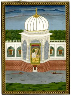 Aurangzeb seated in a pavilion on a wall by a river