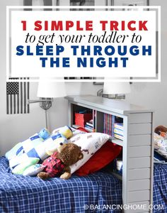 One simple trick got our toddler to sleep through the night. If your toddler is waking in the middle of the night, you need this simple sleeping trick.