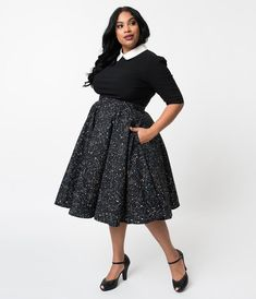 87e44ad5d64 Plus Size Vintage Style Black Galaxy Constellation Print Cotton Circle Skirt