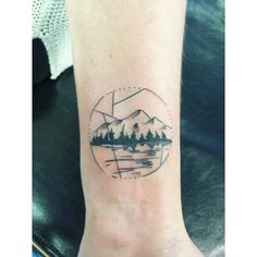 Mountain tree nature geometric tattoo inspired by the Pacific Northwest  and mt rainier. Done by @aron_fredriksson at bulldog tattoo parlor in olympia washington.