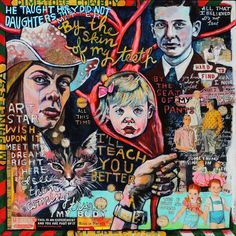 Dimestore Cowboy mixed media painting by Juliana Coles by julianacoles on Etsy