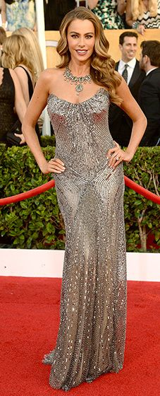 Sofia Vergara: 2014 SAG Awards  The brunette bombshell looked gorgeous in strapless, sequined, gunmetal gown by Donna Karan Atelier, featuring an open back and horizontal strap up top. According to the designer, the gown was inspired by antiqued liquid metal.