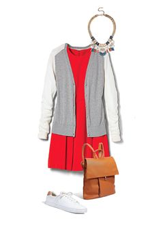 Clean-cut white sneaks, a backpack, a varsity-style cardigan: They're all cute, and they also help you get weekend mileage out of a work dress. Cardigan, $49.50; loft.com. Necklace, $32.99; shopprimadonna.com. Dress, $22.80; forever21.com. Backpack, $45; shopsosie.com. Sneakers, $24.95; hm.com.   - Redbook.com