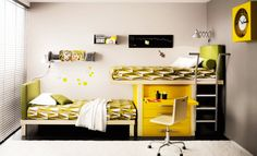 Stagger the overlap of bunk/loft beds. Each bed feels roomier. less claustrophobic, but you still get some of the space-saving. Compact Furniture For a Small Sized Kids Room | DesignRulz