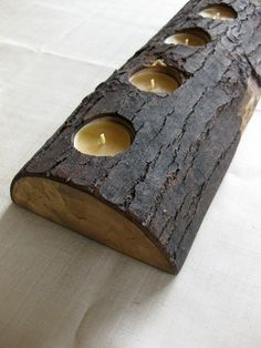 Log Candle Holder dark rustic farmhouse salvaged reclaimed eco nature home decor gifts under 50134L. $49.00, via Etsy.