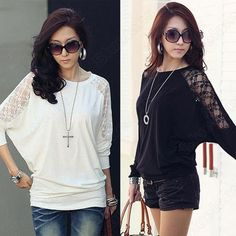 Discount China china wholesale Womens Loose Batwing Dolman Off Shoulder Lace Casual Tank Top T-Shirt Blouse 083 [30404] - US$10.61 : DealsChic