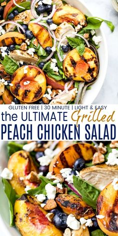 Grilled Peach Chicken Salad is perfect for summer and done in 30 min! This simple salad recipe is filled with juicy peaches, blueberries, goat cheese, pecans, grilled chicken and drizzled with a honey mustard dressing. Summer Salad Recipes, Easy Salad Recipes, Easy Salads, Healthy Eating Recipes, Summer Salads, Dinner Salad Recipes, Healthy Eats, Summer Chicken Recipes, Dinner Salads