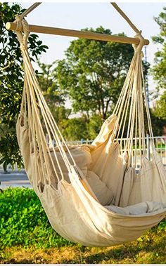 Hammock Chair Swing Seat Indoor Outdoor Garden Patio 2 Seat Cushions Included US Hanging Egg Chair, Hanging Hammock Chair, Hammock Swing Chair, Swing Seat, Swinging Chair, Hanging Rope, Garden Hammock, Rope Swing, Jungle Hammock