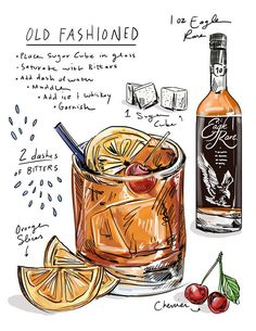 Old Fashioned 🎀 Old Fashioned Drink, Old Fashioned Recipes, Old Fashioned Cocktail, Cocktail Fruit, Cocktail Book, Fun Drinks, Yummy Drinks, Alcoholic Drinks, Beverages
