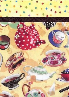 Teapots and tea cups, in a variety of shapes, sizes and styles are featured on the main body of this pillowcase kit. The accent band is a matching brown, and the top features fun multi-colored dots on a yellow ground. Kit contains the fabric you need to make one standard sized pillowcase.