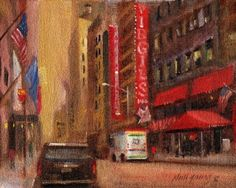 Virgil's Barbecue, 44th Street, New York City 8 x10 Oil on canvas HALL GROAT II, painting by artist Hall Groat II