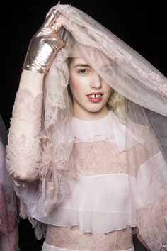 The pale pink chiffon and lace paired with metallic accessory *~❤•❦•:*´`*:•❦•❤~* Meadham Kirchhoff.