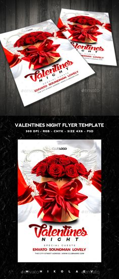 Valentines Night Flyer — Photoshop PSD #spring #invitation • Available here → https://graphicriver.net/item/valentines-night-flyer/14257885?ref=pxcr