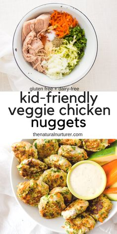 These kid-friendly veggie + chicken nuggets aren't just easy to make, but they are super delicious and a healthy start to dinner! Family-friendly, gluten free, Paleo and Kid-Friendly Veggi Healthy Dinners For Kids, Vegetable Recipes For Kids, Healthy Dinner Recipes, Kids Meals, Healthy Kid Friendly Recipes, Healthy Toddler Meals, Toddler Food, Summer Recipes, Vegetarian Chicken Nuggets