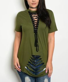 Olive Distressed Lace-Up Top - Plus | zulily