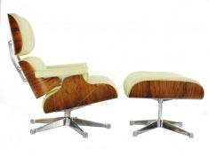 Eames Style Lounge Chair & Ottoman - Walnut / Dark - White Leather